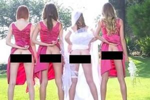 Nuovo trend per le foto del matrimonio: la sposa mostra il lato B