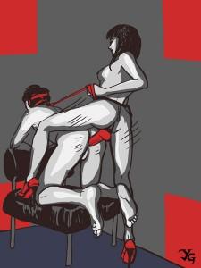 FOTO disegno strap on slave inculato dalla sua padroa